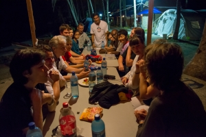 Team meeting back at the camp on one of the calm evenings without rain (photo by Norwegian Red Cross)