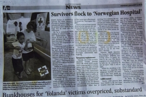 Mario and his moment of fame in the Philippine Daily Inquirer (Photo by Norwegian Red Cross)